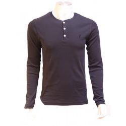 Tee Shirt Boutons Noir Col Tunisien MCS