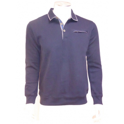Polo Sweat Boutons marine PETER COFOX